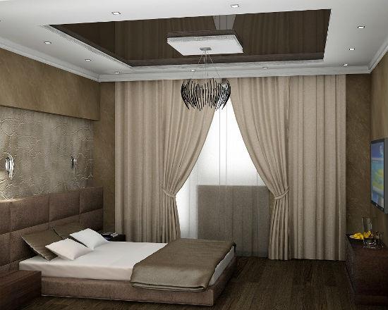 Натяжной потолок в небольшой спальне хрущевки
