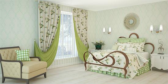 Двухсторонние шторы с растительным рисунком в спальне прованс