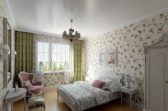 Обои с цветочным рисунком в спальне прованс
