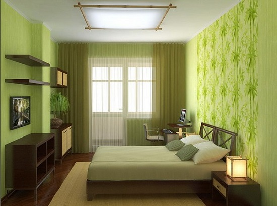 Натуральные материалы и растительная расцветка спальни эко