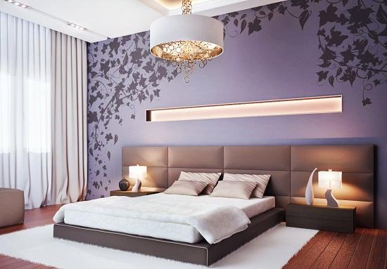 Обои с крупным одиночным рисунком в спальне модерн