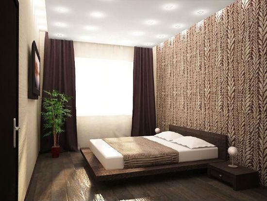 Декоративное оформление стены у изголовья кровати в спальне хрущевки