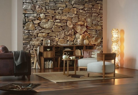 Декоративные обои под текстуру камня в спальне