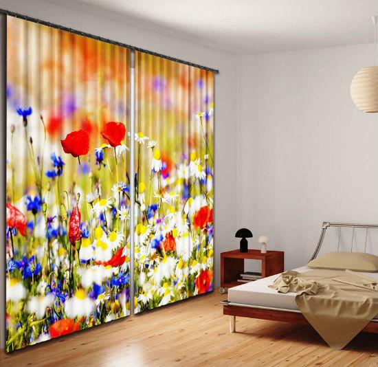 Яркие фотошторы в минималистическом дизайне спальни