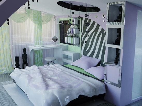 Необычные дизайнерские элементы декора спальни в стиле фьюжн