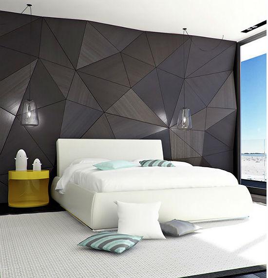 Оригинальное оформление стены спальни в стиле хайтек
