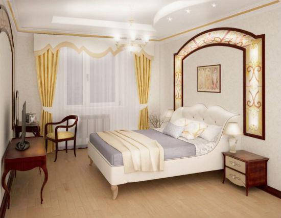 Сочетание теплых и холодных оттенков в оформлении спальни