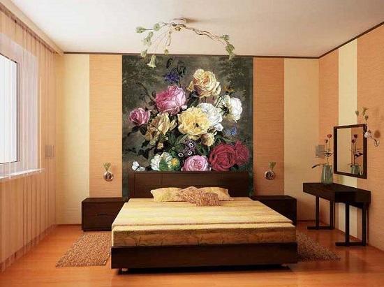 Фотообои с изображением живописного холста в спальне