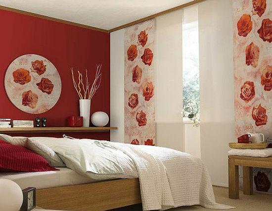 Японские двойные шторы с фотопечатью в спальне