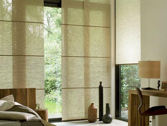 Прямые эко-шторы для спальни в японском стиле