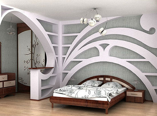 Конструкция из гипсокартона в декоре спальни