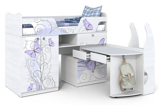 Компактный шкаф с кроватью для спальни девочки