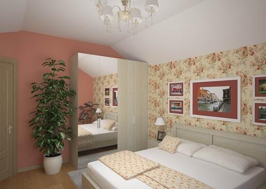 Расстановка мебели в маленькой спальне с потолком сложной формы