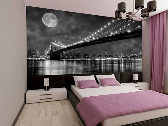 Панорамные фотообои для увеличения площади узкой спальни
