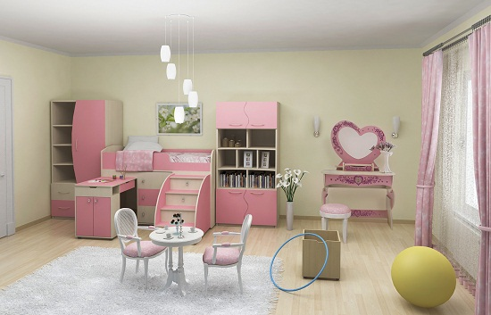 Дизайн просторной спальни-игровой комнаты для девочки