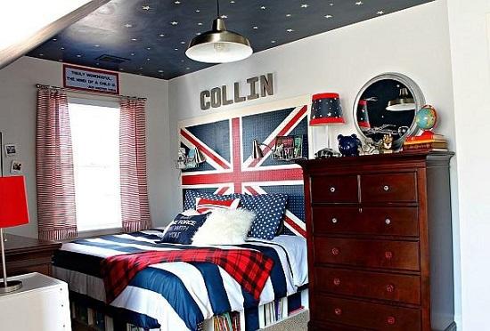 Английская атрибутика в интерьере спальни мальчика-подростка