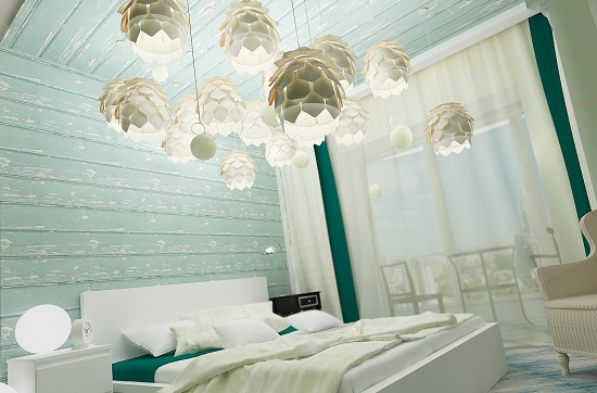 Сочетание бирюзового и белого цвета в отделке спальни