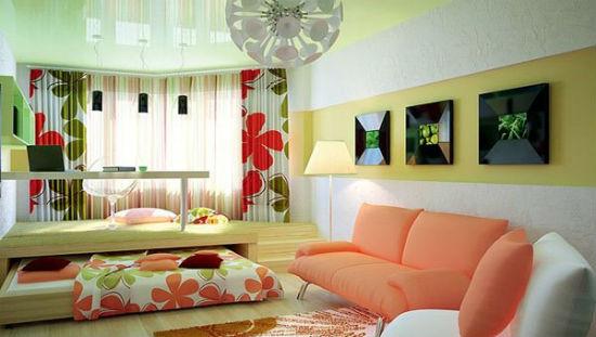 Выдвижная кровать в спальне-гостиной с подиумом