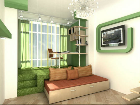 Использование подиума с выкатной кроватью для зонирования спальни