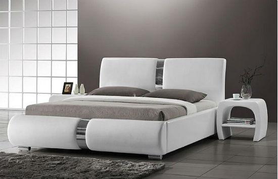 Белая мебель из кожи для современной спальни