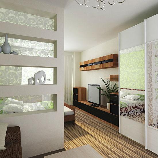 Перегородка из гипсокартона для зонирования спальни-гостиной