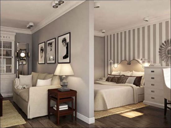 Глухая перегородка для зонирования гостиной-спальни