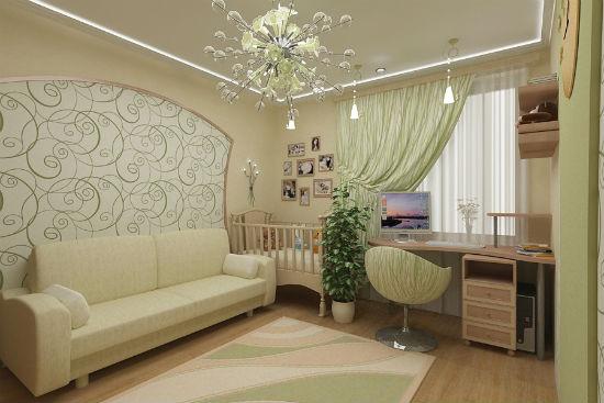 Зонирование гостиной-спальни при помощи оформления стены обоями