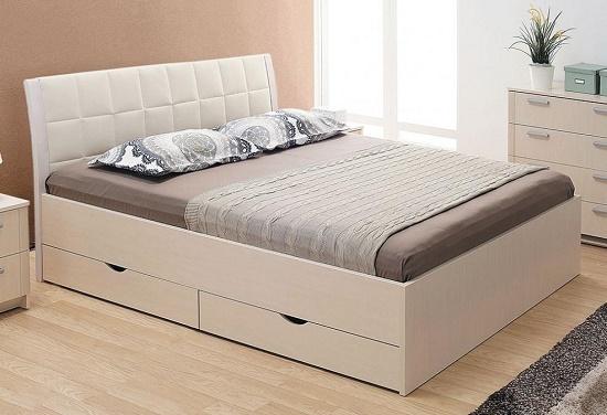 Кровать из мдф для спальни с бельевыми ящиками