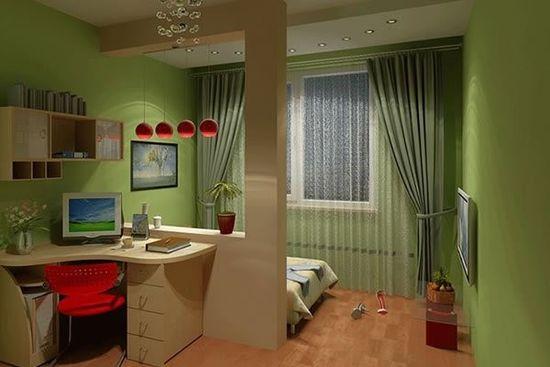 Перегородка между рабочей зоной и местом отдыха в спальне