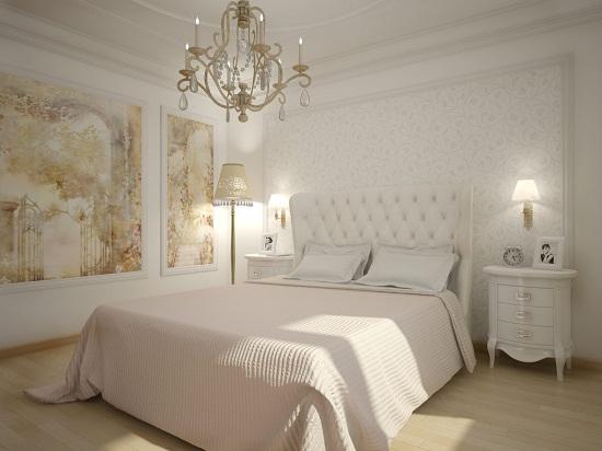 Маленькая белая спальня в классическом стиле