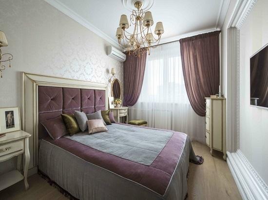 Идея декорирования спальни текстилем одного цвета