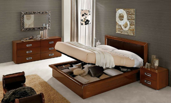 Кровать с большим ящиком для хранения белья в спальне