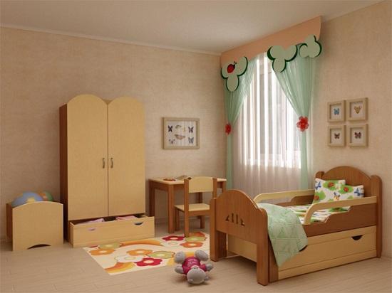 Безопасная мебель в спальне для маленького мальчика