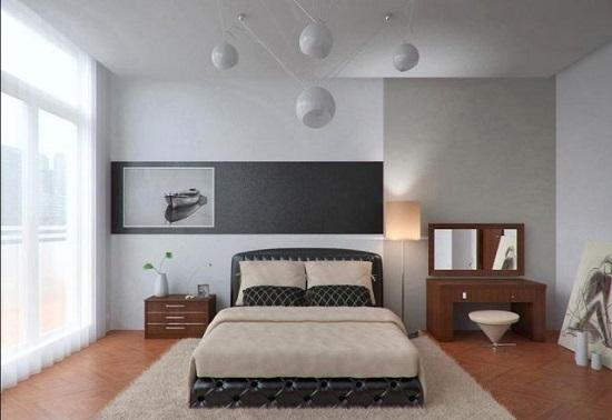 Люстра с разноуровневыми плафонами в освещении минималистической спальни