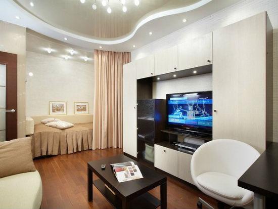 Шторы для зонирования интерьера спальни-гостиной