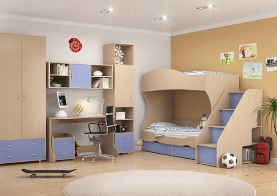 Расположение модульной мебели в спальне мальчика