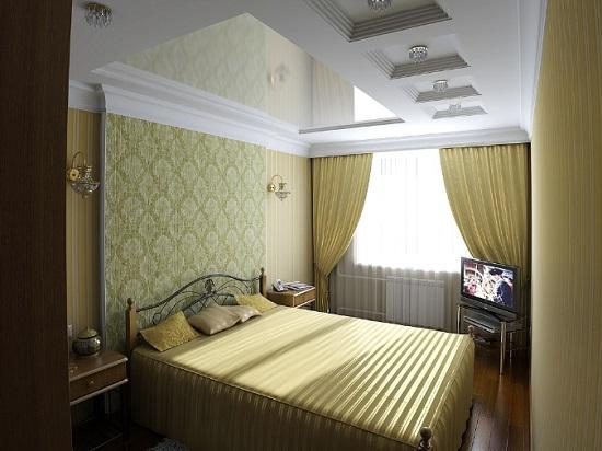 Ремонт и установка натяжного потолка в спальне