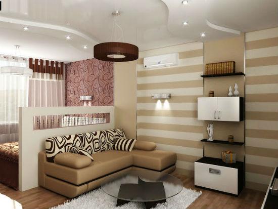 Комбинация перегородки и акцентной отделки стены для зонирования спальни-гостиной