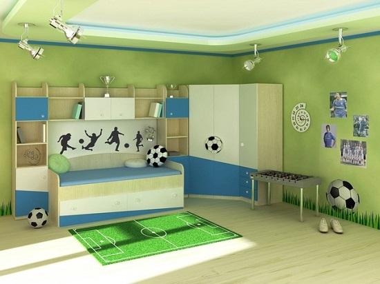 Футбольная тематика в дизайне спальни мальчика