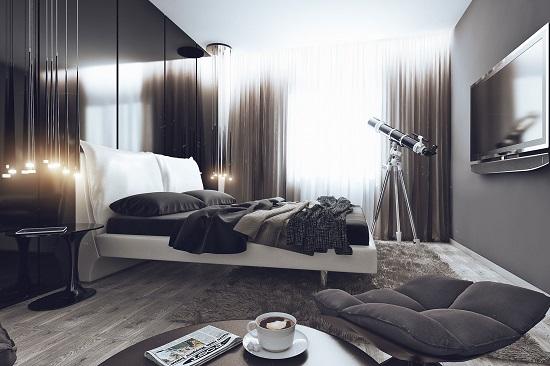 Идея оформления спальни в сдержанных тонах для холостяка