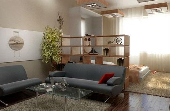 Зонирование спальни гостиной при помощи стеллажей