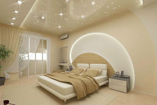 Подвесной потолок с подсветкой в оформлении спальни