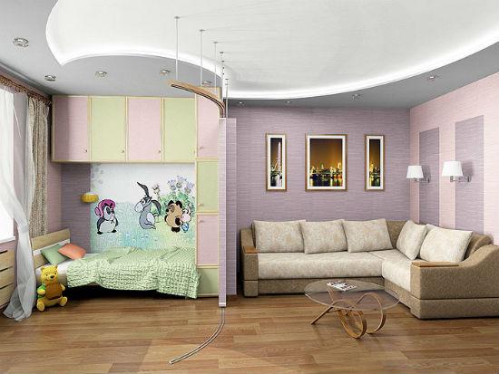 Фигурный потолок из гипсокартона для зонирования гостиной-спальни