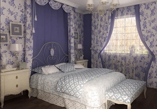 Фиолетово-белая спальня в стиле прованс