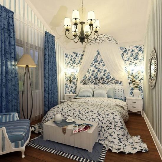 Люстра под старину в освещении спальни в стиле прованс
