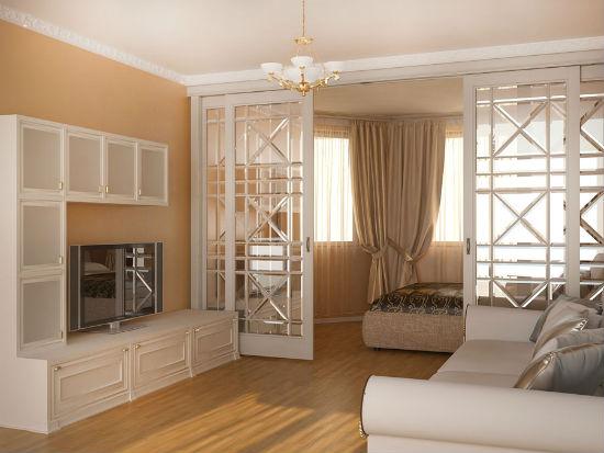 Установка раздвижной перегородки для зонирования спальни-гостиной