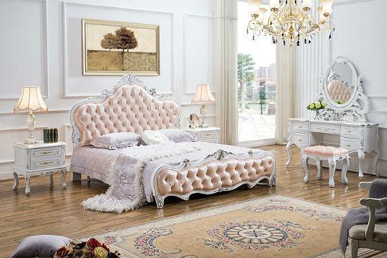 Мебель рококо с инкрустацией и на изящных ножках для спальни