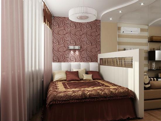 Зонирование спальни-гостиной при помощи двухуровневого потолка