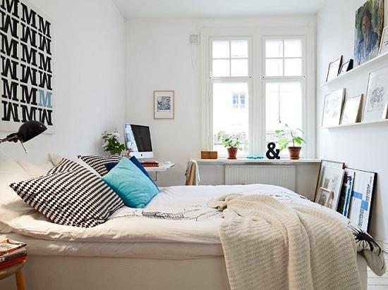 Ремонт спальни с белой отделкой стен для скандинавского стиля