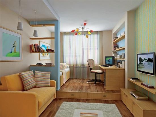 Дизайн комнаты с разделением ее площади на гостиную и спальню мальчика
